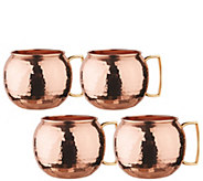 Old Dutch S/4 Hammered Solid Copper Globe Moscow Mule Mugs - H288125