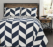 Jigsaw Navy Chevron 3-Piece Full/Queen Quilt Set by Lush Decor - H289325