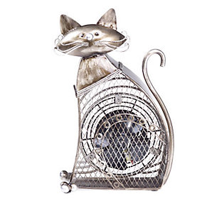 Deco Breeze Hand Sculpted Metal Decorative Small Cat Fan — QVC.