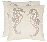 Safavieh Set of 2 18x18 Dahli Seahorse Applique Pillows - H360625
