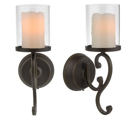 CandleImpressio Set of 2 Flameless Wall Sconces with Timer