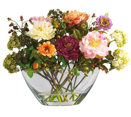 Mixed peony w glass vase flower arrangement bynearly for Arrangement petite cuisine