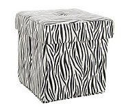 Animal Print Faux Suede Collapsible Tufted Ottoman by Valerie - H199026