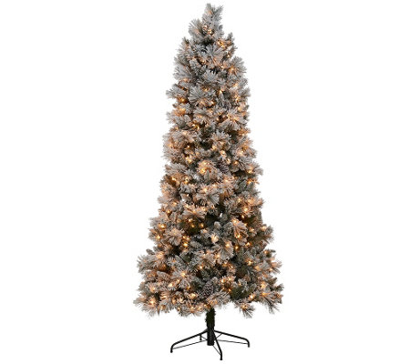 Kringle Express Flocked 7 5 Winter Slim Christmas Tree