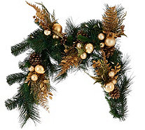 4' Illuminated Mixed Greens Garland with Metallic Embellishments - H206426