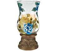 10 Handpainted Glass Hurricane with Flameless Candle by Home Reflections - H207626