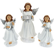 As Is Set of 3 Musical Angel Figures by Valerie - H210326