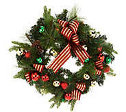 23 Ornament, Ribbon and Pine Decorative Wreath by Valerie - H211826