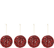 As Is Set of 4 6 Glittered Ornate Scroll Sphere Ornaments - H214326