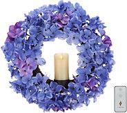 Luminara Faux Floral 23 Wreath w/ 3x6 Wax Pillar & Remote - H214926
