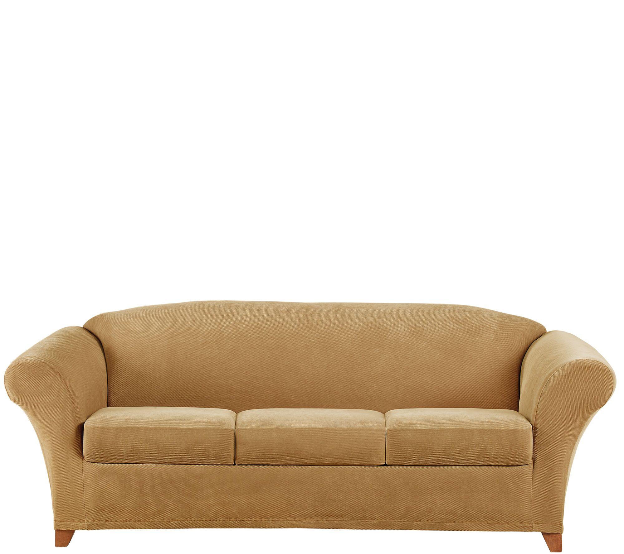 Sure fit stretch pique 3 seat sofa slipcover qvccom for Sure fit stretch sofa cover