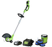 Greenworks 12 String Trimmer, 3-pc Spool, Battery & Charger - H290126