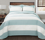 Blue/White Stripe 3-Piece Full/Queen Quilt Setby Lush Decor - H290626