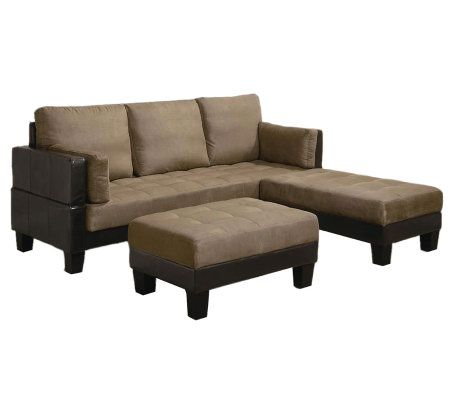 Microfiber sofa bed with 2 ottomans by coaster qvccom for Qvc sofa bed