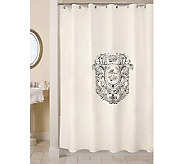 Vintage House Paris Postage Natural/Black Shower Curtain - H356726