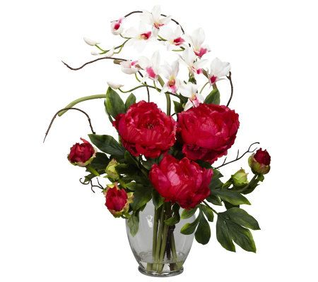 Peony orchid flower arrangement by nearly natural page for Arrangement petite cuisine