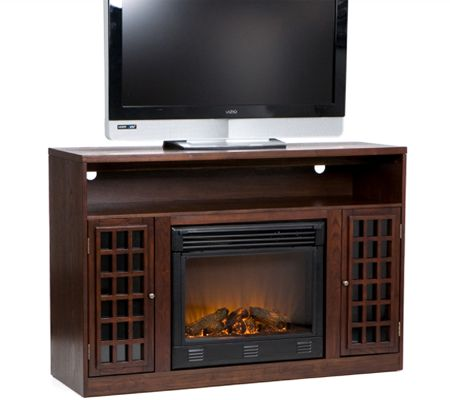 Bergen Espresso Finish Media Console With Electric Fireplace   Page 1 U2014  QVC.com  Fireplace Media Stand