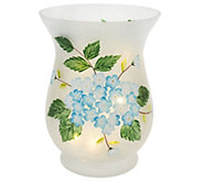 Floral Frosted Glass Vase with Micro Lights by Valerie - H204927