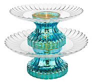 As Is 2-Tier Illuminated Mercury Glass Serving Platter by Valerie - H206727