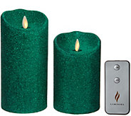 Luminara Set of 2 5 and 7 Glitter Candles with Remote - H210827