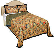 Moroccan Flair 100Cotton Printed Twin Quilt with Fringe Border - H212627