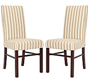 Set of Two Tan and White Striped High Back Dining Chairs - H349027