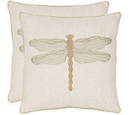 Safavieh Set of 2 18x18 Azure Dragonfly Applique Pillows - H360627