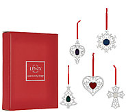 Lenox Set of 5 Silver Plated Crystal Ornaments with Gift Boxes - H205328