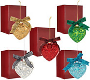 As Is Set of 5 Embossed Heart Ornaments w/ Gift Boxes by Valerie - H208328