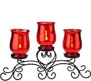 Iron Scroll Centerpiece w/ 3 Mercury Glass Lit Hurricanes by Valerie - H209128