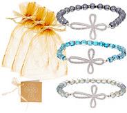 3pc Pave Cross Amazing Grace Bracelets by Valerie - H213228