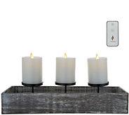 Luminara Wooden Candle Trough with (3) 3x4 Pillars - H214928