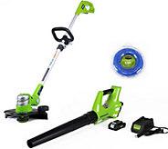 Greenworks 12 String Trimmer, 24V Blower, Battery & Charger - H290128