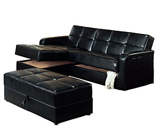 Black vinyl chaise storage sofa bed with ottoman by for Qvc sofa bed