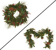 Plow & Hearth Pinecone and Berry Wreath or Garland Collection - H203129