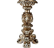 13 Antiqued Pillar Candleholder with Scroll Detail - H203729