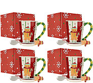 Temp-tations (4) 14 oz. Gingerbread Mugs w/Spoons & Gift Box - H205029