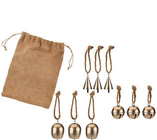 ED On Air S/9 Metal Bell Ornaments w/Burlap Bag by Ellen DeGeneres