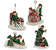 As Is Set of 4 Holiday Character Figures w/ Gift Bags by Valerie - H208329