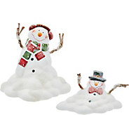 Set of 2 Melting Snowman Figures by Valerie - H208729