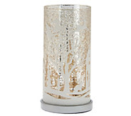 As Is Illuminated Mercury Glass Pillar with Holiday Scene - H214329