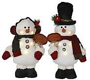 Set of 2 16 LED Snowmen by Santas Workshop - H287329
