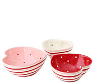 Temp-tations Set of 3 Hugs & Kisses Heart-Shaped Nesting Bowls - H288329