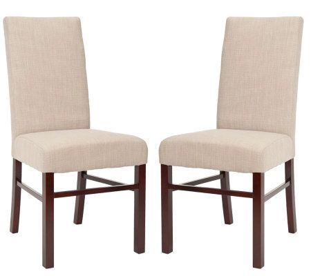 Set of two plush cotton sand color high back dining chairs - Plush dining room chairs ...