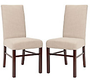 Set of Two Plush Cotton Sand Color High Back Dining Chairs - H349029