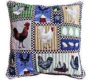 Roosters and Chickens 18 x 18 Tapestry Decorative Pillow - H349329