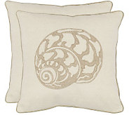 Safavieh Set of 2 18x18 Palmer Seashell Applique Pillows - H360629