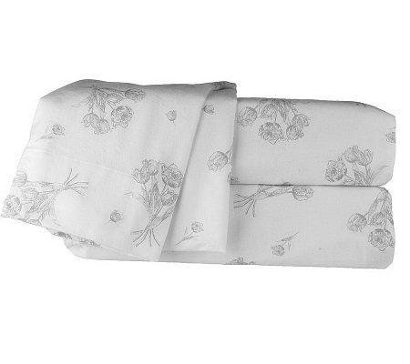northern nights tulips 100 cotton flannel king sheet set. Black Bedroom Furniture Sets. Home Design Ideas
