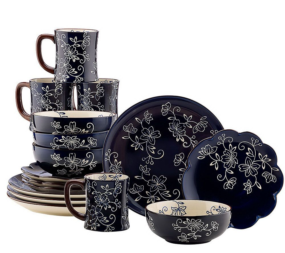 Marvelous Temp Tations Hand Painted Stoneware 16 Pc. Dinnerware Set   Page 1 U2014 QVC.com