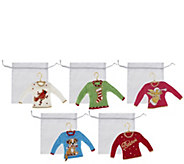Quacker Factory Set of 5 Holiday Sweater Ornaments - H201530